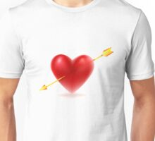 Vector illustration of Red heart shape Unisex T-Shirt