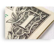US Dollar bill, super macro photo Canvas Print
