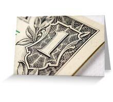 US Dollar bill, super macro photo Greeting Card