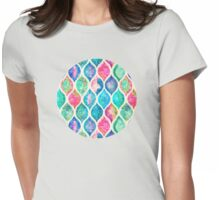 Watercolor Ogee Patchwork Pattern Womens Fitted T-Shirt