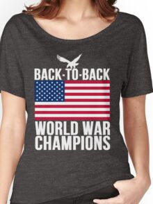 Distressed U.S. Flag & Eagle World War Champs Women's Relaxed Fit T-Shirt