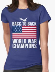 Distressed U.S. Flag & Eagle World War Champs Womens Fitted T-Shirt