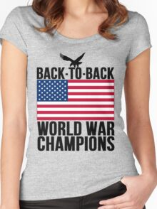 Distressed U.S. Flag & Eagle World War Champs Women's Fitted Scoop T-Shirt