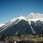 Road to Chamonix with mountains above Chamonix France 198404270088 by Fred Mitchell