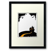 Happy halloween card with castle Framed Print