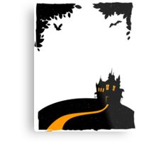 Happy halloween card with castle Metal Print