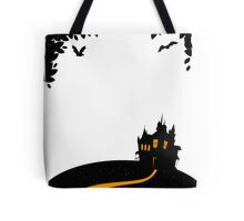 Happy halloween card with castle Tote Bag