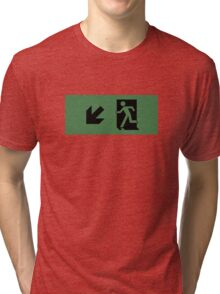Running Man Emergency Exit Sign, Left Hand Diagonally Down Arrow Tri-blend T-Shirt