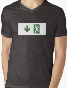 Running Man Emergency Exit Sign, Left Hand Down Arrow Mens V-Neck T-Shirt