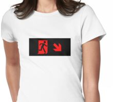 Running Man Emergency Exit Sign, Right Hand Diagonally Down Arrow Womens Fitted T-Shirt