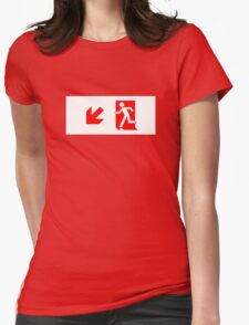 Running Man Emergency Exit Sign, Left Hand Diagonally Down Arrow Womens Fitted T-Shirt