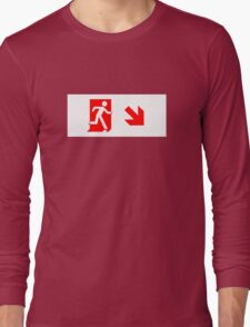 Running Man Emergency Exit Sign, Right Hand Diagonally Down Arrow Long Sleeve T-Shirt