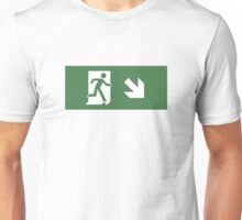 Running Man Emergency Exit Sign, Right Hand Diagonally Down Arrow Unisex T-Shirt