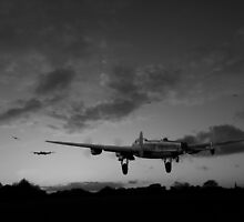 Lancasters taking off at sunset black and white version by Gary Eason + Flight Artworks
