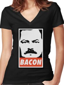 BACON (Colour) Women's Fitted V-Neck T-Shirt