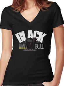 Spanish black bull  Women's Fitted V-Neck T-Shirt