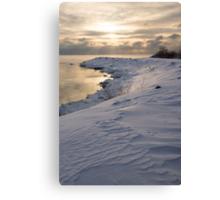 Icy, Snowy Lake Shore Morning Canvas Print