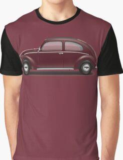 1949 Volkswagen Beetle Sedan - Bordeaux Red Graphic T-Shirt