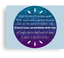 Percy Jackson Prophecy Purple and Blue Canvas Print