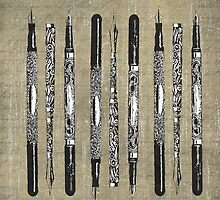 Paris France Antique Pens by Edward Fielding
