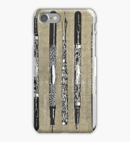 Paris France Antique Pens iPhone Case/Skin