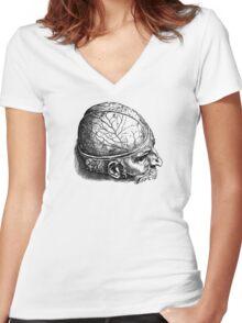 Brain Man Women's Fitted V-Neck T-Shirt