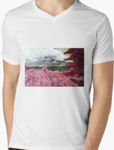 Blooming Cherry Blossoms Mens V-Neck T-Shirt
