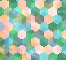 Child's Play - hexagon pattern in mint green, pink, peach & aqua by micklyn