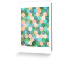 Child's Play - hexagon pattern in mint green, pink, peach & aqua Greeting Card
