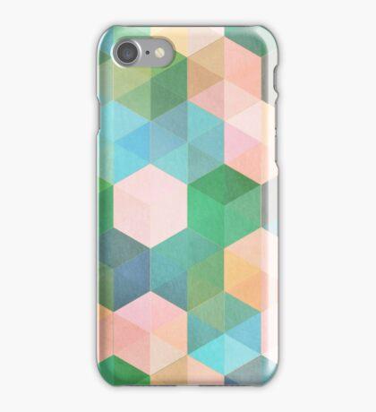 Child's Play - hexagon pattern in mint green, pink, peach & aqua iPhone Case/Skin