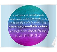 Percy Jackson Prophecy - Blue Background Poster