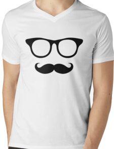 Nerdy Mustache Man Mens V-Neck T-Shirt