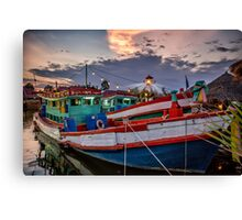 Fishing Boat and Lighthouse Canvas Print