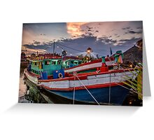 Fishing Boat and Lighthouse Greeting Card