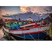 Fishing Boat and Lighthouse Photographic Print