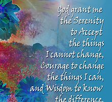 Serenity Prayer Blue Flowers 2 by serenitygifts
