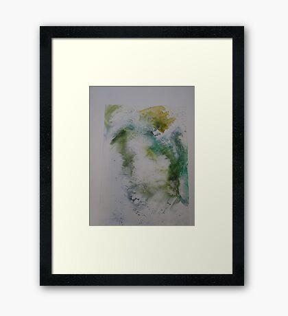 Water colour screen-print of Expanding foam face. Framed Print