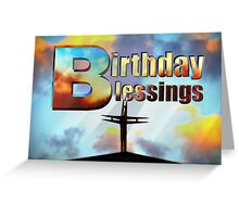 Birthday Blessings Church Cross Greeting Card