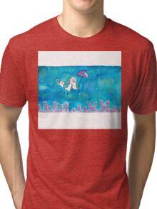 Cat Over City Tri-blend T-Shirt