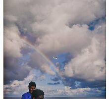 Fishermen, rainbow, airplane by DavyRedbone