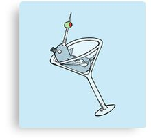 Vintage Narwhal Martini Canvas Print