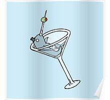Vintage Narwhal Martini Poster