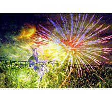 Bunny enjoying distant fireworks Photographic Print