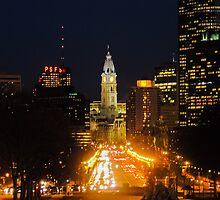 Philadelphia Skyline from the Philadelphia Museum of Art by MadVonD