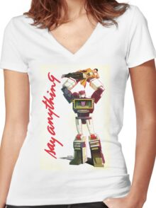soundwave - say anything Women's Fitted V-Neck T-Shirt