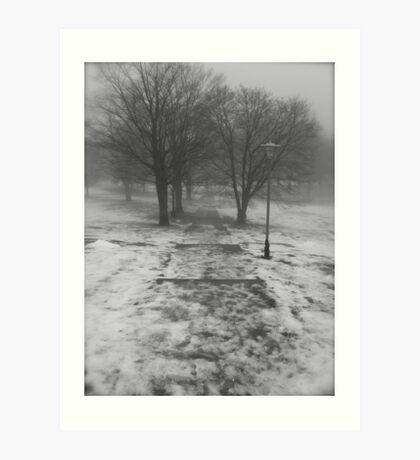 Winterland/ Misty Urban Steps...CANADIAN CULTURE CAPTURED Art Print