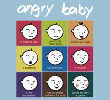 Angry Baby colour blocks white text Kids Tee