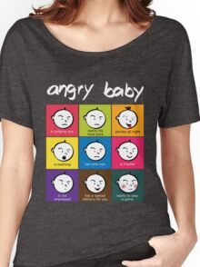 Angry Baby colour blocks white text Women's Relaxed Fit T-Shirt
