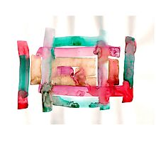 Asymmetrical Mandala - Small Abstract Landscape,  watercolor, ink & pencil on paper Photographic Print