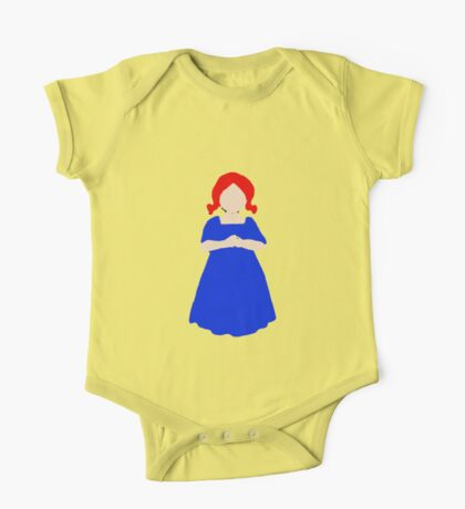 Cute Little Girl with Red Hair and a Blue Dress One Piece - Short Sleeve
